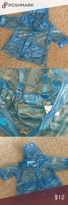 Gap Girl PVC Raincoat Gap Blue hooded raincoat, %100 PVC.  Snap front and 2 front snap pockets. GAP Jackets & Coats
