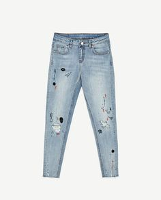 Image 8 of CROPPED JEANS WITH PAINTED AND EMBROIDERED DETAILS from Zara