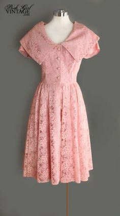 1950's Adorable Soft Rose Pink Lace Dress - M