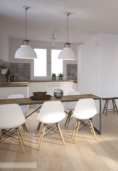 projects idea of white eames chair. Luxury Kitchen Design  Kitchens Designs Ideas Small Modern Room Goals House Decorations white and wood kitchen dining table with eames chairs plus Ena