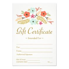 Flower Bouquet Printed Gift Certificate Template - click to personalize