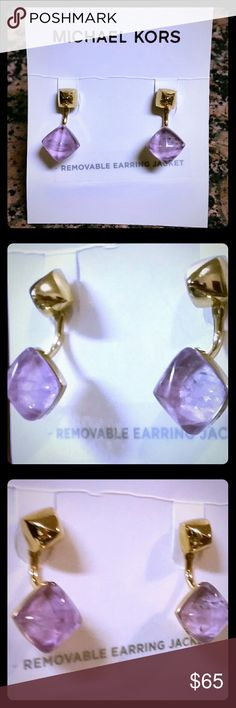 Michael Kors Genuine Amethyst Summer Rush Earrings Authentic Michael Kors Summer Rush Genuine Natural Amethyst Semi-precious Gemstone Gold Tone Jacket Earrings.  Stunning, Beautiful and Very Classy.  A touch of signature designer elegance only by Michael Kors.  Retails for $115. Michael Kors Jewelry Earrings
