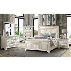 Best Ashley Bolanburg 5Pc Bedroom Set Cal King Louvered Bed 400 x 300