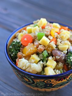 Chickpea Quinoa Stir Fry is an easy plant powered meal. Make it using whatever you have on hand. This oil-free recipe is plant-based and delicious.