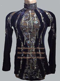 M315-Ballroom-XL-Men-039-s-Rhythm-Salsa-Latin-Dance-Turtleneck-sleeve-lace