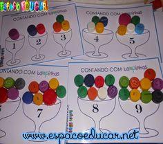 ESPAÇO EDUCAR: Jogo educativo com fichas para imprimir! Atividade com numerais contando com tampinhas plásticas!
