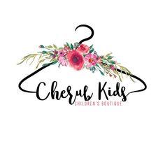 Hanger Logo Design, Premade Watercolor Floral Clothes Hanger Logo, Children's Boutique Logo, Kids Clothing Logo, Hanger with Flowers Logo Wedding Logo Design, Custom Logo Design, Custom Logos, Boutique Logo, Kids Boutique, Logo Online Shop, Hanger Logo, Restaurant Logo, Logo Facebook