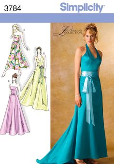 Special Occasion Gown and Dress Sewing Pattern 3784 Simplicity Formal Dress Patterns, Evening Dress Patterns, Wedding Dress Patterns, Dress Sewing Patterns, Clothing Patterns, Evening Dresses, Prom Dresses, Sewing Ideas, Sewing Projects