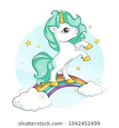 Little pony. Cute magical unicorn and rainbow. Vector design isolated on white background. Romantic hand drawing illustration for children. Unicorn Drawing, Unicorn Art, Magical Unicorn, Unicorn Illustration, Cute Illustration, Pikachu Mignon, Chibi Kawaii, Cool Backgrounds Wallpapers, Kids Cartoon Characters
