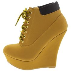 STEPHY98 CAMEL LACE UP UTILITY WEDGE BOOT (€14) ❤ liked on Polyvore featuring shoes, boots, lace up shoes, flat pumps, lace up flat shoes, lace up boots and lace up flats
