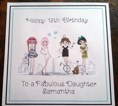 Handmade Personalised Birthday Card ANY AGE Girl Daughter Cousin Mother Nanna