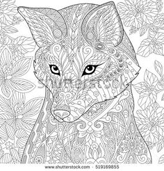 Stylized cartoon wild fox animal and hibiscus flowers. Freehand sketch for adult anti stress coloring book page with doodle and zentangle elements.