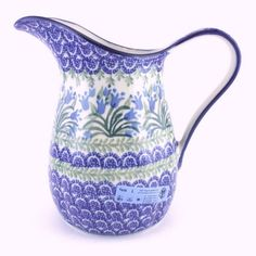 Do you love blue tulips and Polish Pottery? If so, this is the right pitcher for you :) http://slavicapottery.com