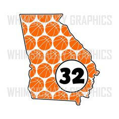 Digital File - Georgia State Shape Basketball Pattern For Monogram with svg, dxf, png and eps Commercial & Personal Use