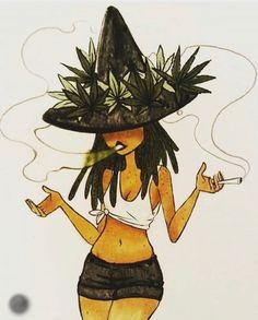 dead girl w/🖤 - themeltingmoons: 420 witch blaze it Black Girl Art, Art Girl, Calin Gif, Art Hippie, Art Mignon, Stoner Art, Weed Art, Psychedelic Art, Painting Art