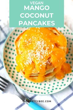 These vegan coconut pancakes are SO good, and the mango sauce on top is the perfect finishing touch! #pancakes #vegan #eggfree #coconut Vegan Pancake Recipes, Egg Recipes For Breakfast, Best Vegan Recipes, Free Breakfast, Brunch Recipes, Real Food Recipes, Vegan Banana Pancakes, Coconut Pancakes