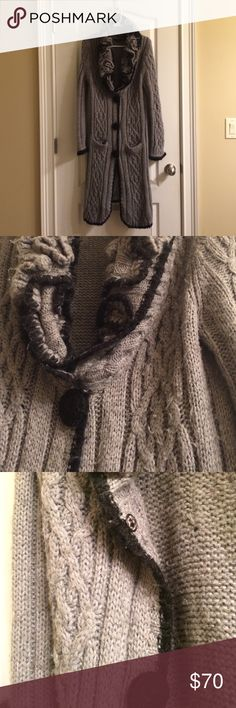 Long sweater BCBGMaxazria long fuzzy cable sweater with 2 front pockets and 3 snap buttons. 50% acrylic 10% wool 30% mohair 10% nylon. BCBGMaxAzria Sweaters