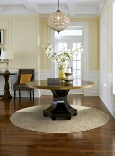 Rave Review from Anderson Tuftex. A floral damask designed carpet made into a round area rug.