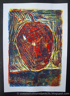 Styrofoam Reduction Prints using yellow, red and blue ink- Grade 3