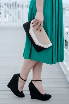 Pretty in Green - green midi skirt, cheetah infinity scarf, strip crop top, boho hair, ankle straps, wedges, qupid, forever 21, asos, kate spade necklace, c necklace, fall trends, fall 2014, fall fashion blog post, blog, fashion, long hair affair