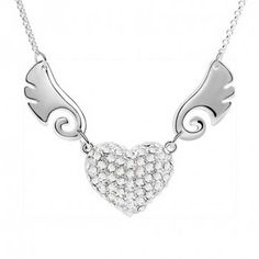 Chic Rhinestoned Wing Decorated Heart Pendant Necklace, WHITE in Necklaces | DressLily.com
