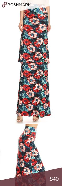 "Buttery Soft Painted Floral Maxi Skirt Comfortably Fits Sizes 14 - 22 (24 depending on body type) Beautiful Echted Scribble Floral Fabric Design Soft Floral Colors Blend to Create an Amazing Style Brushed Buttery Soft Milk Silk Fabric Plus Size Comfort Elastic Waist 92% Polyester 8% Spandex Model is wearing One Size Plus Measurements are 38B x 34 x 42 height is 5' 8"" Hand Wash or Professional Wash Skirts Maxi #bestmaxiskirtforbodytype"
