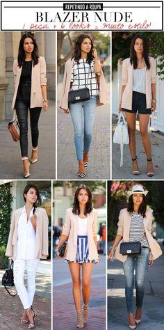 repetindo a roupa: como usar o mesmo blazer nude em 6 produções diferentes e estilosas