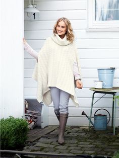 cable knit poncho to sew; need to locate sweater material; this will be easy and adorable for winter