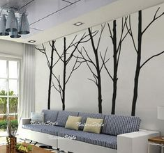 vinyl wall sticker children wall decal bedroom wall decal nursery white brown black wall decal wall decor-Five Winter Trees. $87.00, via Etsy.