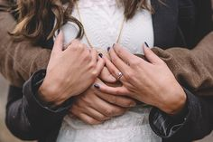 The perfect engagement photo to show off this bride's delicate round engagement ring!