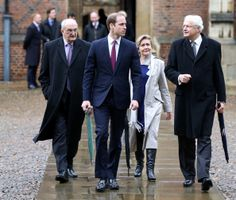 Prince William, Duke of Cambridge arrives for his first day to study Agricultural Management alongside Sir Leszek Borysiewicz, (L) Vice Chancellor University of Cambridge, Polly Coutice, Director of Cambridge Programme Sustainability Leadership and Master of St John's Professor Christopher Dobson at St John's College, Cambridge University on January 7, 2014 in Cambridge, England.