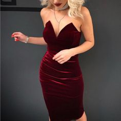 Luciana Strapless Corset Bodycon Burgundy Velvet Slit Midi Dress - Cocktail Evening Christmas Dresses Outfit Ideas for Going Out Party – Valentines Day Date Straple - Trendy Dresses, Tight Dresses, Sexy Dresses, Cute Dresses, Dress Outfits, Evening Dresses, Formal Dresses, Elegant Dresses, Going Out Dresses
