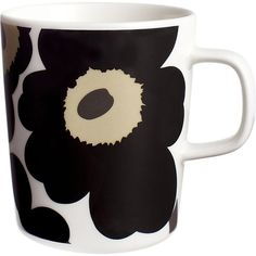 Marimekko Unikko Black Mug in Coffee Mugs & Teacups Marimekko, Scandinavia Design, Kitchenware, Tableware, Green Mugs, Best Coffee Mugs, Great Wedding Gifts, Cool Mugs, Crate And Barrel