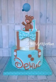 A little man... :) by BULGARIcAkes Baby Shower Cakes For Boys, Baby Boy Cakes, Little Man Cakes, Gateau Baby Shower, Teddy Bear Birthday, 1st Birthday Cakes, Happy Birthday, Teddy Bear Cakes, Donut Decorations