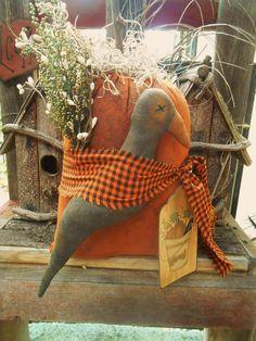 Primitive Crow and Pumpkin Door Hanger Halloween Or Thanksgiving Decoration