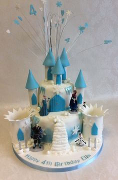 2 tier Frozen castle cake for Ella