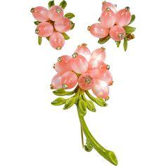 Vintage Pin & Earring Set Pink Lucite Moon Glow Beads Rhinestones Set On Green Enamel www.rubylane.com #vintagebeginshere