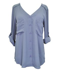 This Gray Roll-Tab Sleeve V-Neck Button-Up Top - Women is perfect! #zulilyfinds