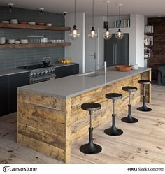Küche Ceasar-Stone-Sleek-Concrete-countertops Tips On Bubble-Proofing Your Home What can you do to b Concrete Countertops, Farmhouse Kitchen Decor, Concrete Kitchen, Rustic Kitchen, Kitchen Design, Kitchen Design Trends, Modern Kitchen, Kitchen Interior, Rustic Kitchen Island