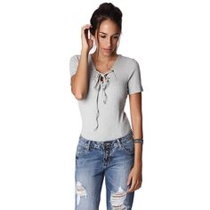 Gray ribbed body with lace-up front – Fashion Gal Freedom
