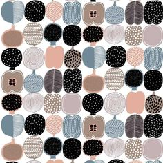 Kompotti Fabric in Peach, Taupe and Petrol Orla Kiely Fabric, Marimekko Fabric, Roman Blinds, Japanese Fabric, Pattern Art, Taupe, Peach, Inspiration, Design