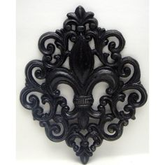 Fleur de lis Ornate Decorative FDL Cast Iron Painted Classic Modern... ($16) ❤ liked on Polyvore featuring home, home decor, etsy treasury, cast iron home decor, black home decor, fleur de lis home decor, paris home decor and parisian home decor