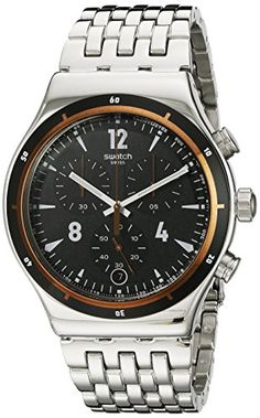 Men's Wrist Watches - Swatch Mens YVS419G Irony Analog Display Swiss Quartz Silver Watch ** More info could be found at the image url.