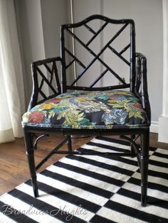 www.broadviewheights.blogspot.com faux bamboo Chippendale chair makeover #TonicLiving fabric