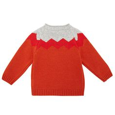 Buy John Lewis Chevron Piecrust Knitted Jumper, Orange Online at johnlewis.com