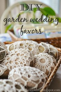 DIY Garden Wedding Favors, Melt and Pour Soap & Crochet River Rocks by Over the Apple Tree