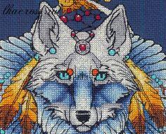 """Схема для вышивки крестом. Cross stitch pattern. """"Ловец снов - Волк2"""""""
