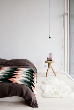 a few of my favorite things: neon cord,sheepskin,knit zig zag blanket.....