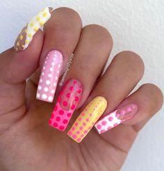 Colourful Acrylic Nails, Simple Acrylic Nails, Square Acrylic Nails, Pink Acrylic Nails, Yellow Nails, Simple Nails, White Glitter Nails, Cute Gel Nails, Funky Nails