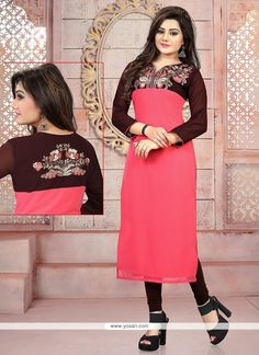 Captivating Georgette Pink Embroidered Work Party Wear Kurti Model: YOKU571